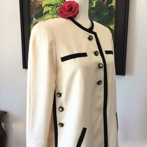 CHANEL IVORY GROSGRAIN TRIMMED TUNIC